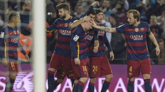 HOME - Barcelona x Athletic Bilbao - Copa do Rei - Neymar, Messi, Suárez e Piqué (Foto: Lluis Gene/AFP)