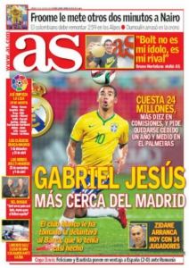 Gabriel Jesus na capa do As