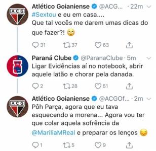 Interação entre os perfis de Corinthians e Atlético-GO no Twitter