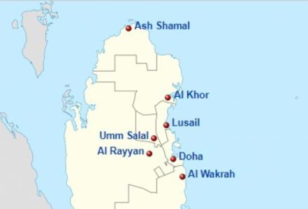 Mapa cidades Qatar