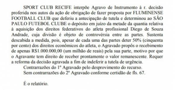 Decisão Diego Souza - Fluminense, São Paulo e Sport