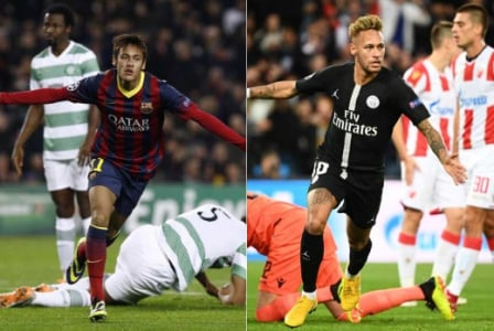 Neymar - Barcelona 6x1 Celtic - 2013/2014 e PSG 6x1 Estrela Vermelha 2018/19