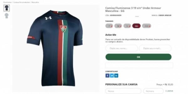 e539abb5043c2 Nova terceira camisa do Fluminense (Foto  Reprodução)