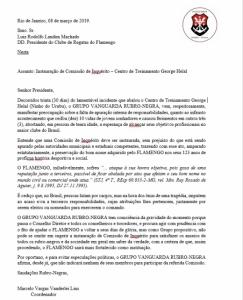 "Documento protocolado pela ""Vanguarda Rubro-Negra"""