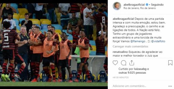Internado, Abel Braga se manifestou por redes sociais