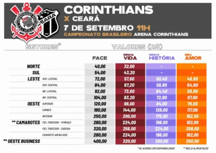 Corinthians X Ceara Ingressos Para Socios Torcedores Ja Estao A Venda Lance