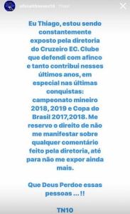 Thiago usou sua conta no Instagram para se pronunciar