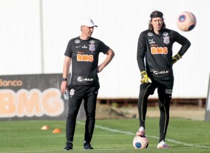 Tiago Nunes e Cássio - Treino Corinthians