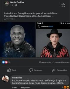 Comentário Chú (Palmeiras) sobre Paulo Gustavo