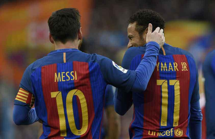 Messi e Neymar - Barcelona x Athletic Bilbao