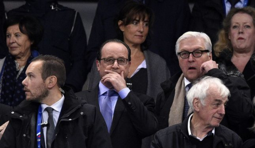 O presidente François Hollande tomou as primeiras medidas ainda no Stade de france ( foto – AFP)