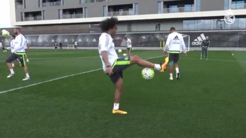 Marcelo no treino do Real Madrid