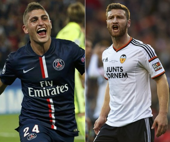 Verrati, do PSG, e o Mustafi, do Valencia