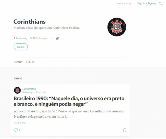 Página do Corinthians na plataforma Medium