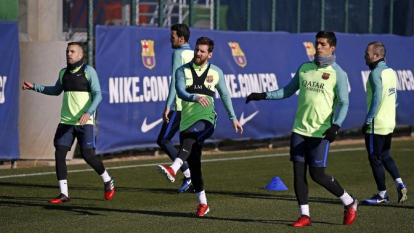 Alba, Messi e Suárez - Treino do Barcelona