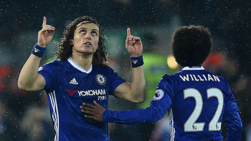 David Luiz comemorando gol - Liverpool x Chelsea f6f9883fd3276
