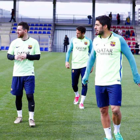 Messi, Suárez e Neymar - Treino do Barcelona