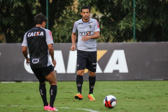 Fred, em treinamento do Atlético-MG na Cidade do Galo