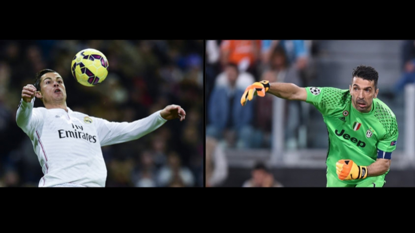 Buffon com o Cristiano Ronaldo