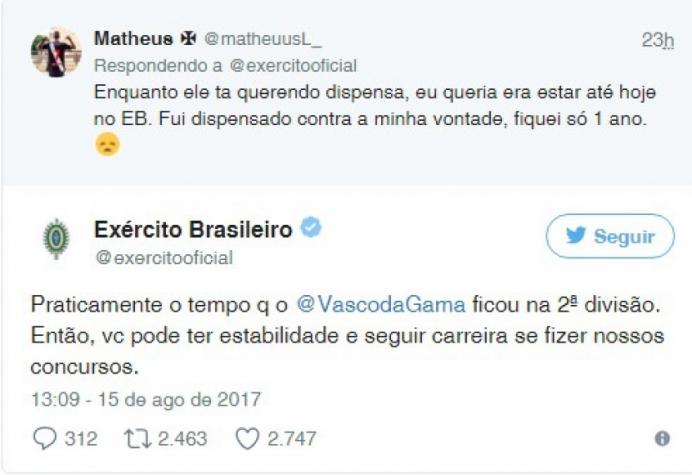 Twitter do Exército dá explicações após tirar sarro do Vasco