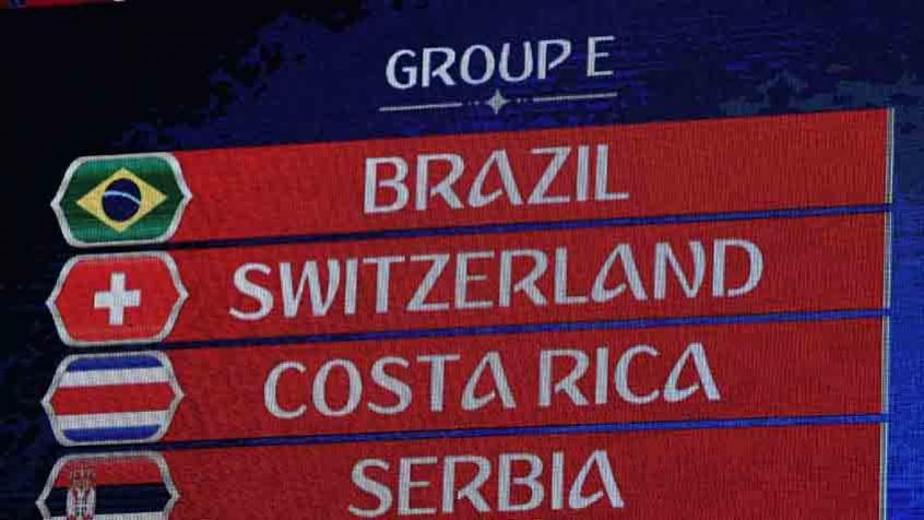 Brasil pega Suíça, Costa Rica e Sérvia na Copa do Mundo
