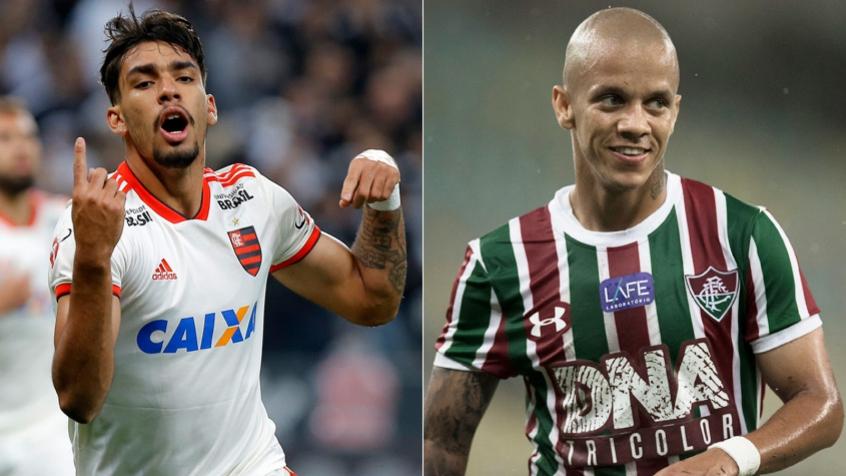 Montagem  Lucas Paquetá, do Flamengo, e Marcos Júnior, do Fluminense.