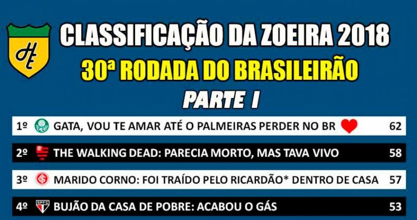 065f876abf Classificação da Zoeira - Trigésima rodada do Brasileirão 2018 - FutNet