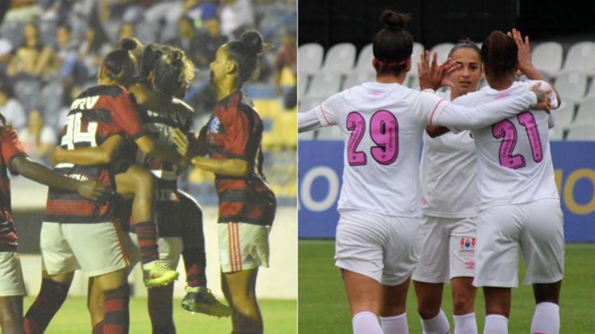 Montagem - Flamengo Feminino e Santos Feminino