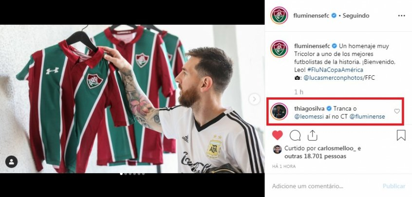 e73f336317f7e Messi ganha camisa do Flu e Thiago Silva brinca: 'Tranca ele ai no ...