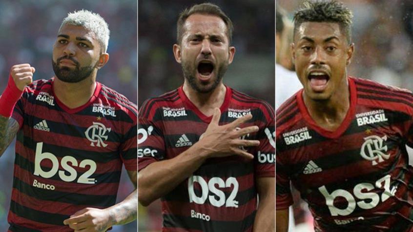 Montagem - Gabigol, Everton Ribeiro e Bruno Henrique