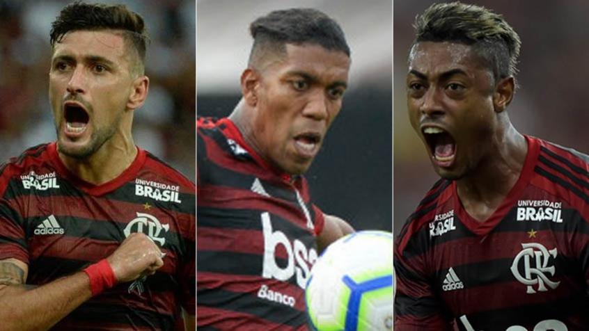 Montagem - Arrascaeta, Berrío e Bruno Henrique