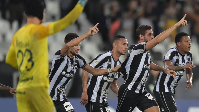 Botafogo x Goiás - jogadores do Botafogo comemorando o gol