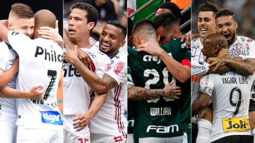 Montagem - Santos, São Paulo, Palmeiras e Corinthians