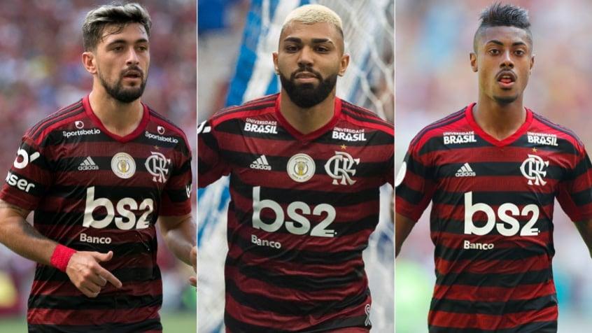 Montagem - Arrascaeta, Gabigol e Bruno Henrique