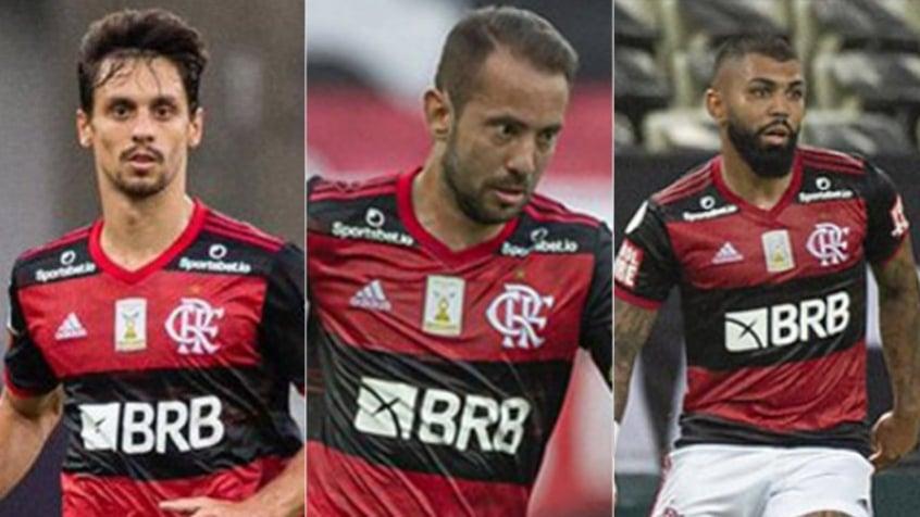 Montagem Flamengo - Rodrigo Caio, Everton Ribeiro e Gabigol