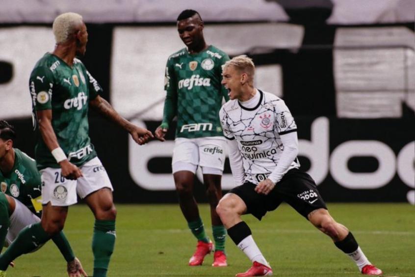 Róger Guedes marca duas vezes e comanda vitória do Corinthians sobre o Palmeiras