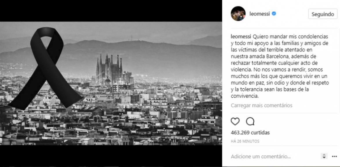 447ccf5c6 Mundo da bola se solidariza após atentado em Barcelona