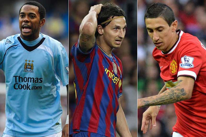 Robinho (camisa do Manchester City) + Ibrahimovic (camisa do Barcelona) + Di María (camisa do Manchester United)