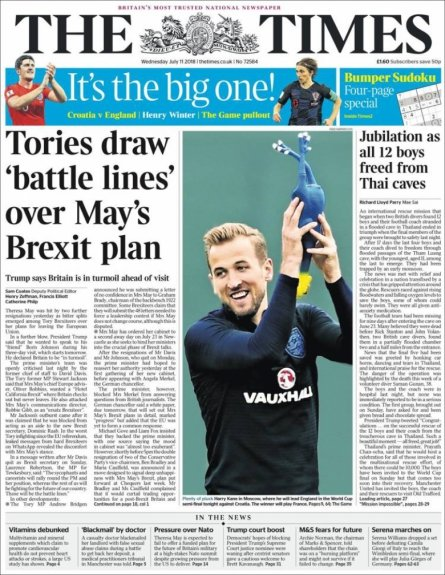 Capa The Times - 11/07/2018