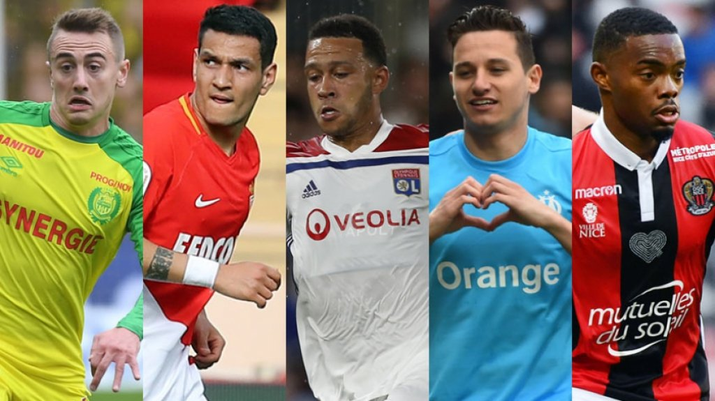 Montagem Rongier, Rony Lopes, Depay, Thauvin e Cyprien