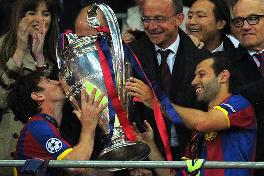 O argentino participou de quatro dos cinco títulos de Liga dos Campeões que  o clube catalão f965cbc29b892