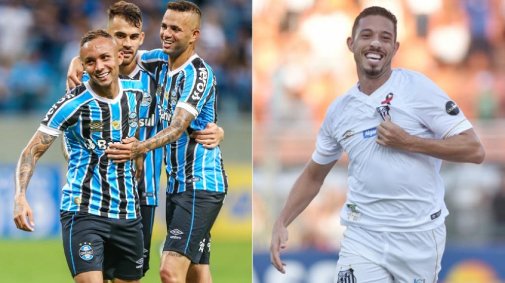 Montagem Everton (Grêmio) e Jean Motta (Santos)