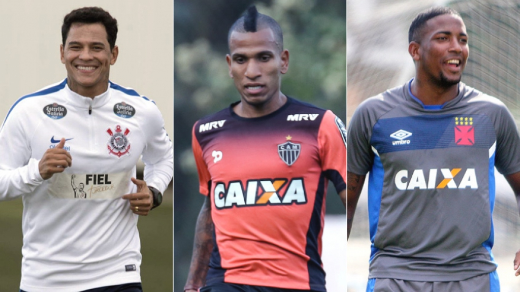 Montagem com o Giovanni Augusto no Corinthians, do Otero no Atlético MG e do Thalles no Vasco