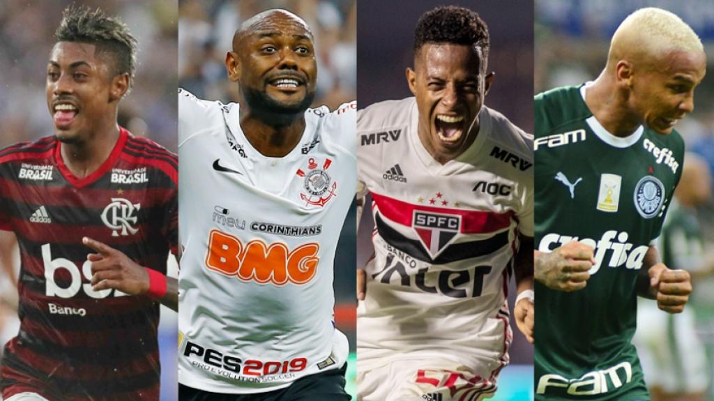 Montagem: Flamengo, Corinthians, São Paulo, Palmeiras