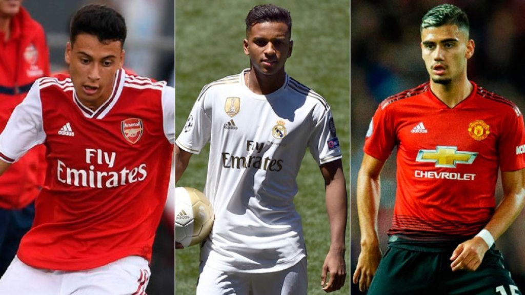 Montagem - Gabriel Martinelli (Arsenal), Rodrygo (Real Madrid) e Andreas Pereira (Manchester United)