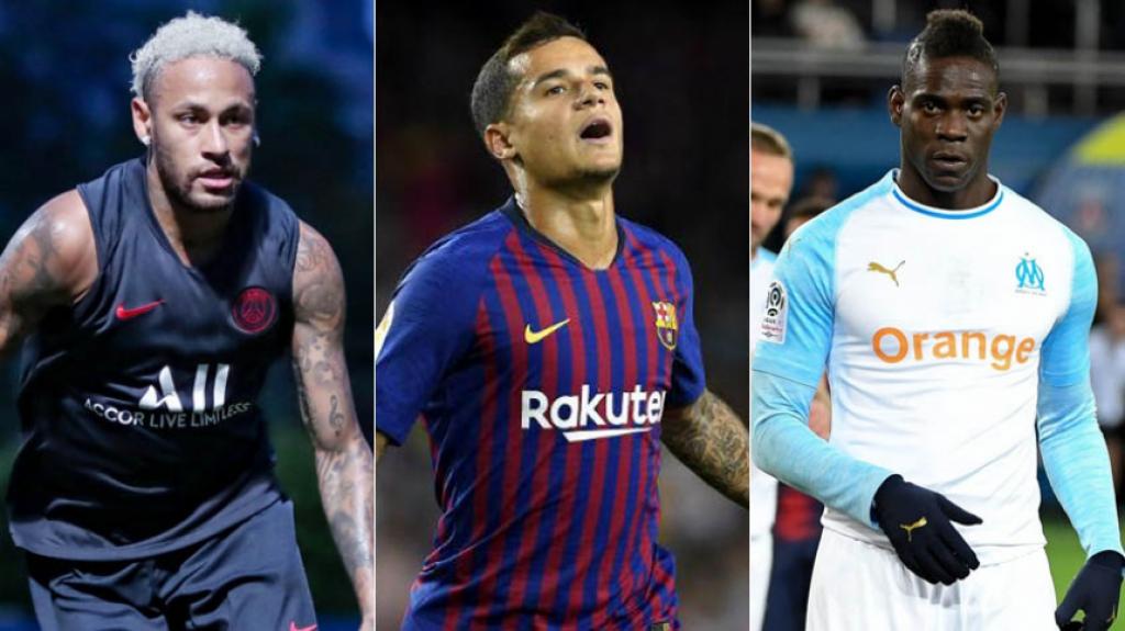 Montagem Neymar, Coutinho e Balotelli