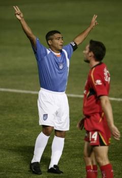 Romário em ação pelo Miami FC. Foram 22 gols em 29 partidas no ano de 2006