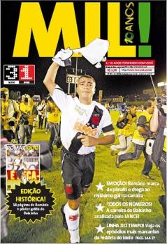 Capa do Diário LANCE! no dia seguinte ao milésimo gol de Romário
