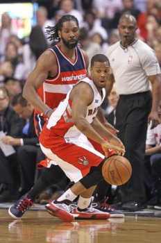 Brasileiro Nenê na vitória do Washington Wizards sobre os Raptors (Foto: Claus Andersen / GETTY IMAGES NORTH AMERICA / AFP)