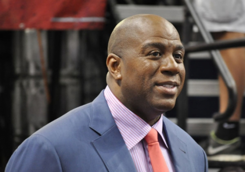 Magic Johnson na American Arlines Arena para o jogo 2 da final da NBA 2010/2011 (Foto: Daniel Perissé)